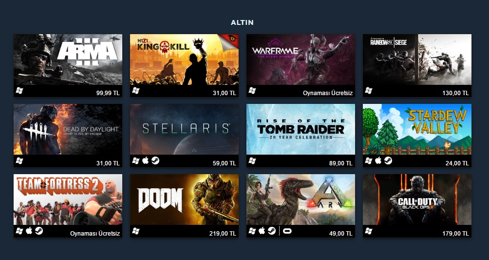 Altın Grubu 2016 Yılında Steam'de Satan En Çok 100 Oyun